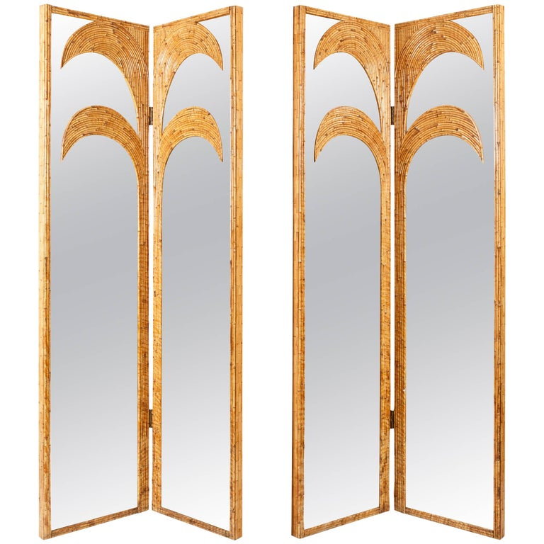 Vivai del Sud Pair of Bamboo Mirrored Panels or Four-Panel Screen For Sale
