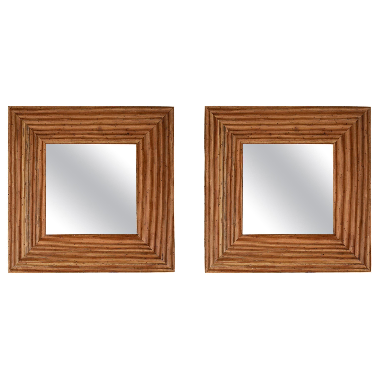 Vivai del Sud Pair of Rattan Mirrors