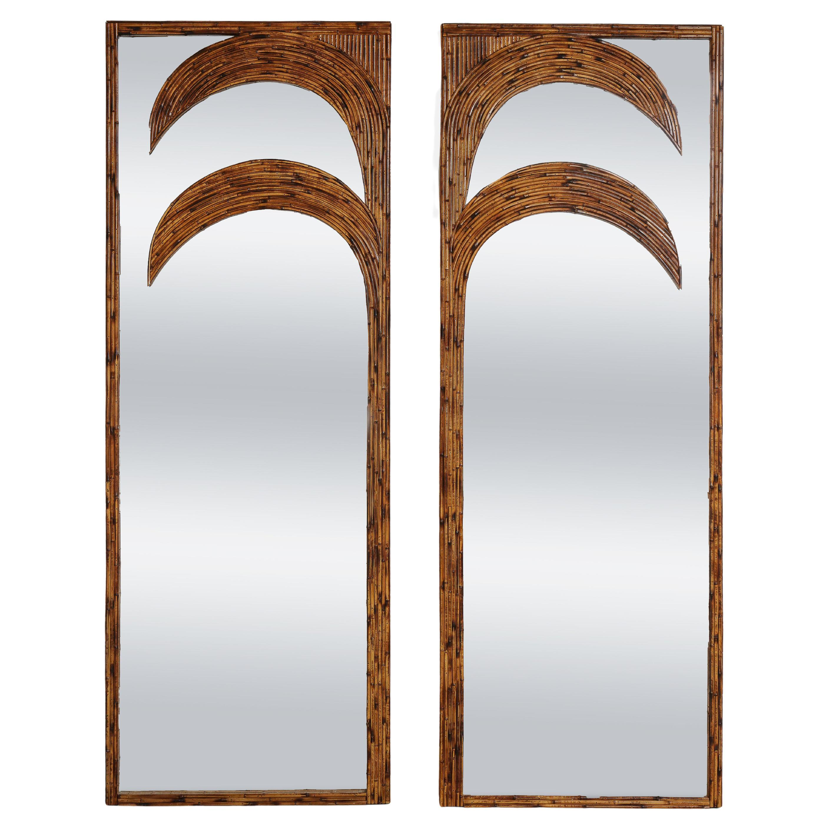 Vivai del Sud Pair of Standing Bamboo Palm Tree Mirrors, Italy, 1970s