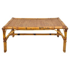 Vivai del Sud Rectangular Bamboo & Rattan Coffee Table, Italy, 1960s