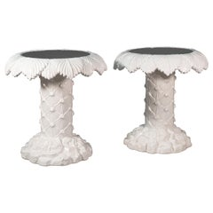 Vivai del Sud signed Pair of Italian White Ceramic Palm-Shaped Coffee Tables
