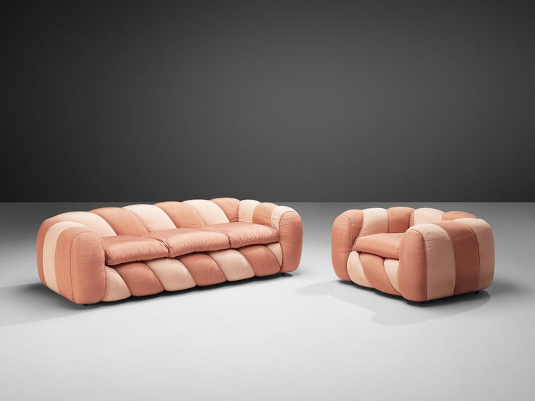 Vivai del Sud, sofa, pink fabric upholstery, Italy, 1970s   This vibrant and cheerful sofa was created in the 1970s. This item is upholstered in a shiny two-tone pink fabric. The smooth and bulky form, combined with the sweet colour, creates an