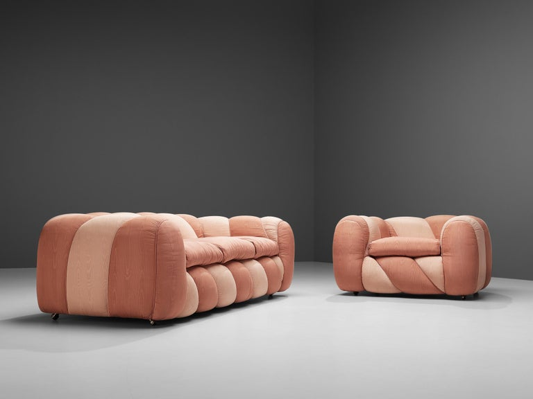 Italian Vivai del Sud Sofa in Pink Fabric Upholstery For Sale