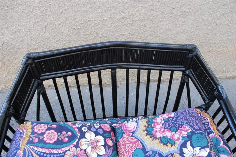 Vivai del Sud Sofà Italian Design 1970s Flowers Black Multi-Color Bamboo For Sale 4
