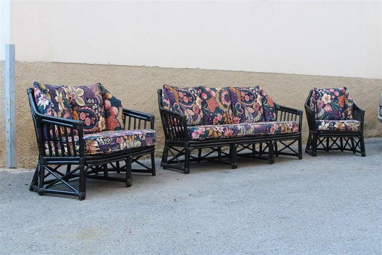 Vivai del Sud Sofà Italian Design 1970s Flowers Black Multi-Color Bamboo For Sale 6