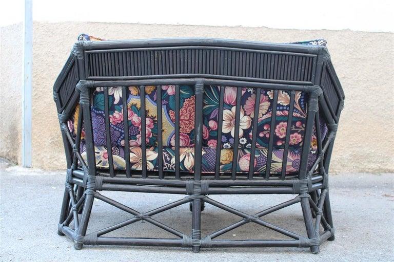Vivai del Sud Sofà Italian Design 1970s Flowers Black Multi-Color Bamboo In Good Condition For Sale In Palermo, Sicily