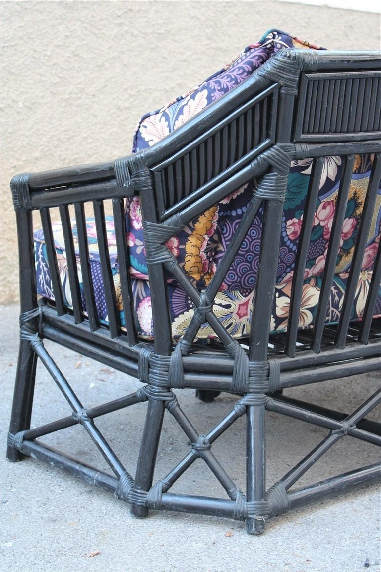 Vivai del Sud Sofà Italian Design 1970s Flowers Black Multi-Color Bamboo For Sale 1