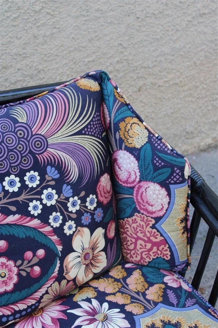 Vivai del Sud Sofà Italian Design 1970s Flowers Black Multi-Color Bamboo For Sale 3