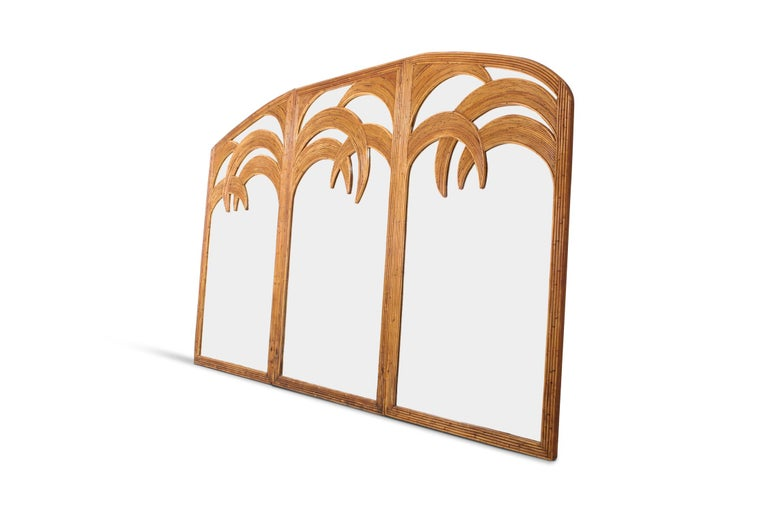 Hollywood Regency Gabriella Crespi style mirror in bamboo by Vivai del Sud. Italy, 1970s. Great Italian glam piece that fits well in an eclectic interior. We've added an interior by Lucia Tait Tolani from Hong Kong who uses a piece like this in a