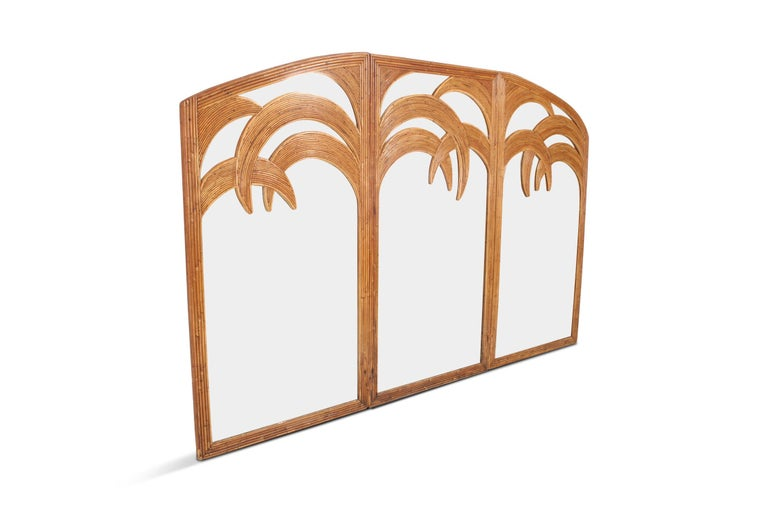 Hollywood Regency Vivai del Sud Triptych Floor Mirror in Bamboo For Sale