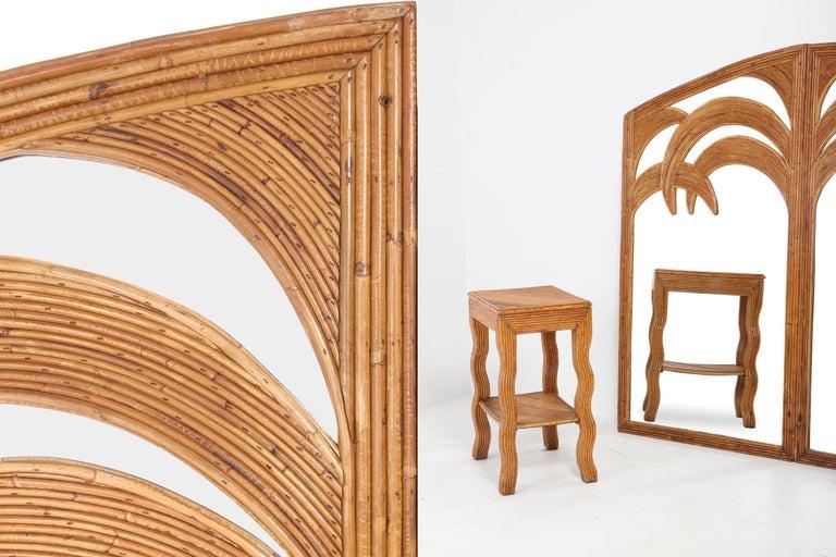 European Vivai del Sud Triptych Floor Mirror in Bamboo For Sale