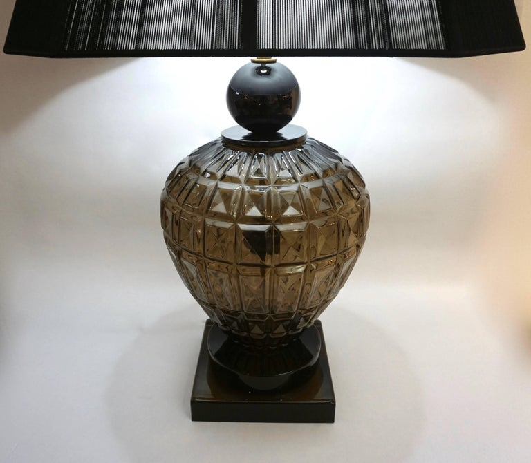 Smoked Glass Vivarini 1970s Italian One-of-a-Kind Pair of Black and Smoked Murano Glass Lamps For Sale