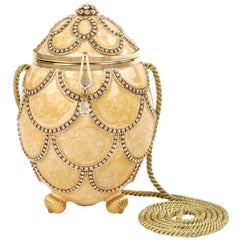 VIVIAN ALEXANDER c.1994 Gold Crystal Handmade Faberge Egg Minaudiére Purse