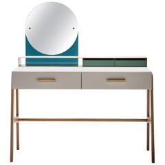 Contemporary and italian beauty desk, makeup table, jewel case, mirror.
