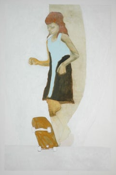 Barefoot, oil painting of young girl skateboarding, neutral colors