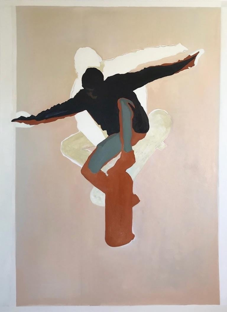 Believer, young figure skateboarding, oil painting on canvas, earth tones