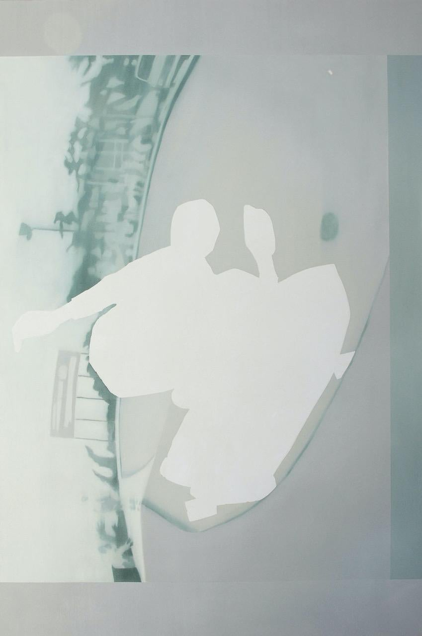 Edge, anonymous figure skateboarding, grey and blue oil painting on canvas