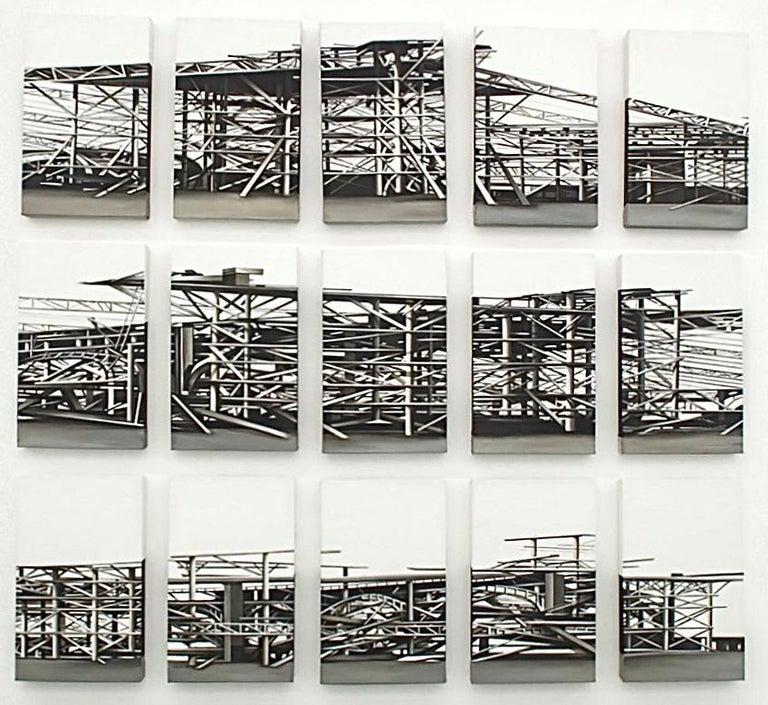 """Viviana Zargón Landscape Painting - """"Palais des Machines"""", 15 pieces, 2011, Canvas, Acrylic Paint, Painting"""