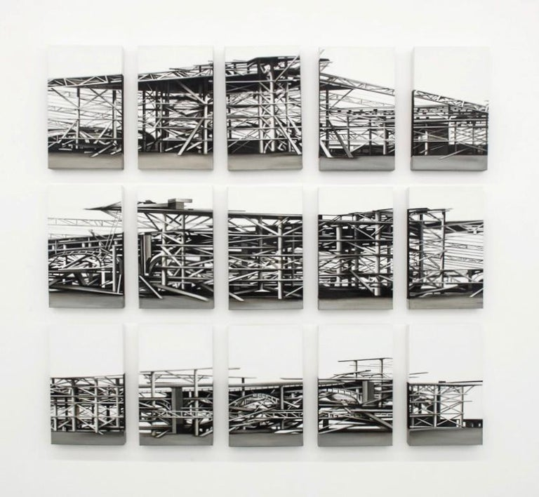 """Palais des Machines"", 15 pieces, 2011 Canvas, Acrylic Paint, Abstract Painting  - Gray Landscape Painting by Viviana Zargón"