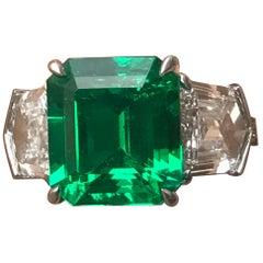 Vivid 3.97 Carat Muzo Colombian Green Emerald No Oil Certified