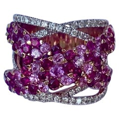 Vivid 7.31 Carat Ruby, Pink Sapphire, Diamond 18 Karat Rose Gold Love Band Ring