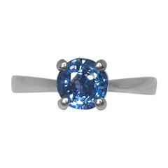 Vivid Blue 1.03 Carat Round Cut Sapphire Solitaire 950 Platinum Ring