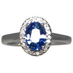 Vivid Blue 1.22 Carat Ceylon Sapphire and Diamond 18 Karat White Gold Halo Ring
