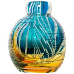 Vivid Blue Gold & White Swirled Venetian Vase Vintage Murano Glass Italy 1970s