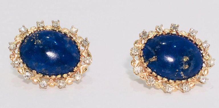 Oval Cut Vivid Blue Large Oval Lapis Lazuli Diamond Halo 18 Karat Gold Post Earrings For Sale