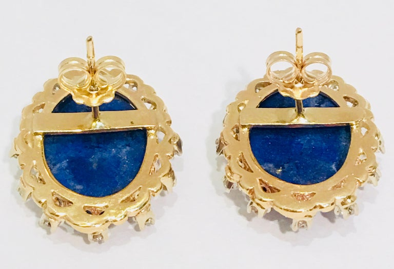 Vivid Blue Large Oval Lapis Lazuli Diamond Halo 18 Karat Gold Post Earrings In Excellent Condition For Sale In Tustin, CA