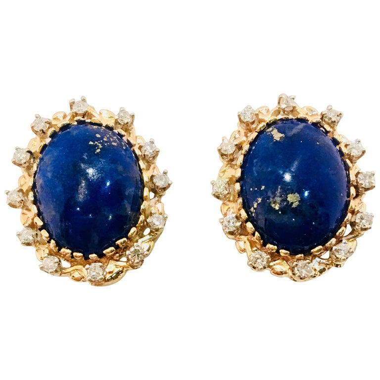 Vivid Blue Large Oval Lapis Lazuli Diamond Halo 18 Karat Gold Post Earrings For Sale