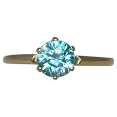 Vivid Blue Natural Zircon 1.26 Carat Round Brilliant Yellow Gold Solitaire Ring