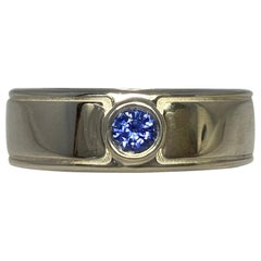 Vivid Blue Round Cut Sapphire Flush Set Sterling Silver Gents Mens Band Ring