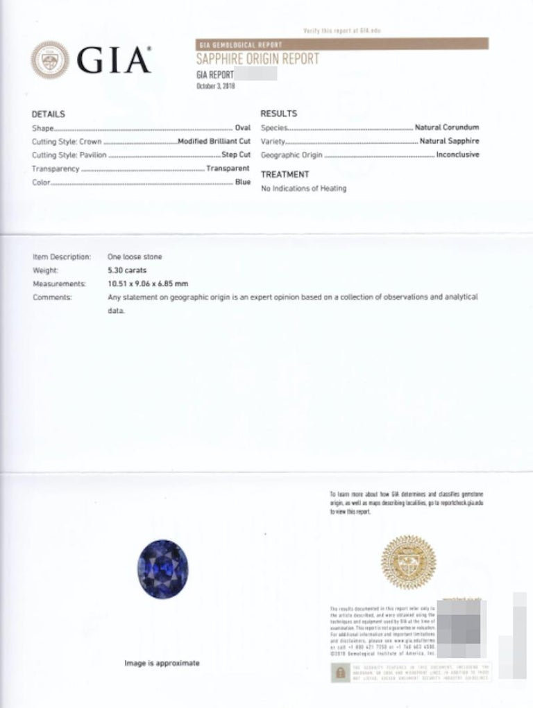 Vivid Blue Royal Blue GRS GIA Certified 5.30 Carat Blue Sapphire In New Condition For Sale In Rome, IT
