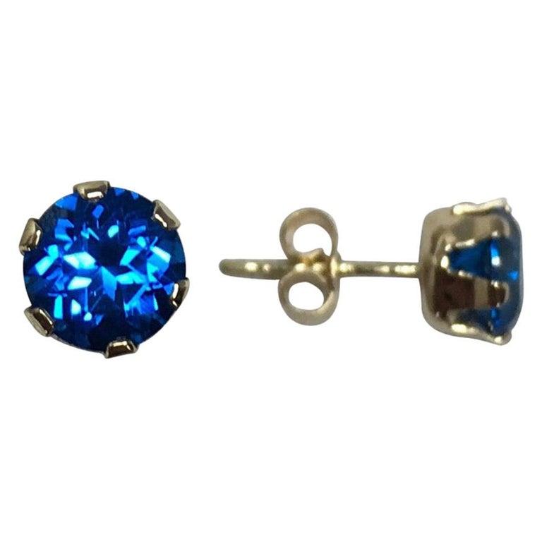 Vivid Blue Topaz 2 Carat Yellow Gold Round Brilliant Diamond Cut Earring Studs For Sale