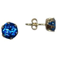 Vivid Blue Topaz 2 Carat Yellow Gold Round Diamond Cut Earring Studs