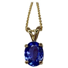 Vivid Blue Violet 1.03 Carat Tanzanite Solitaire Yellow Gold Pendant Necklace