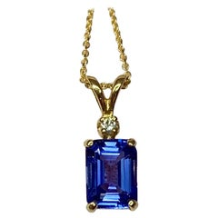 Vivid Blue Violet Tanzanite and Diamond Yellow Gold Pendant Necklace Emerald Cut