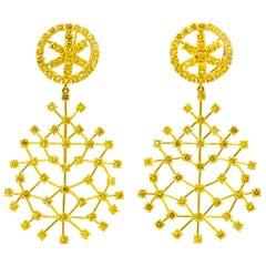 Vivid Canary 10.8 Carat Diamond Earrings 18 Karat Yellow Gold