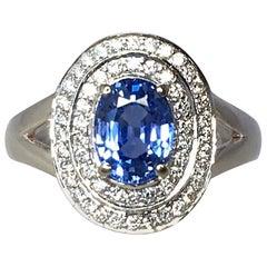 Vivid Ceylon Blue Sapphire and Diamond 18 Karat White Gold Cluster Cocktail Ring