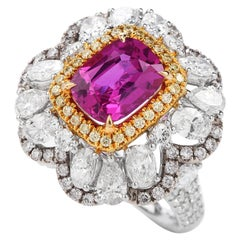 Vivid Ceylon Pink Sapphire Fancy Diamond 18 Karat Gold Large Cocktail Ring