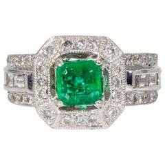 Vivid Colombian Emerald and Diamond Platinum Ring