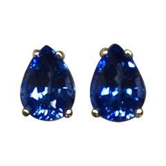 Vivid Cornflower Blue 2.25 Carat Ceylon Sapphire Pear Cut Gold Earring Studs