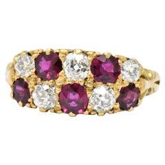 Vivid D & F Victorian 2.05 Carat Diamond Ruby 18 Karat Gold Ring