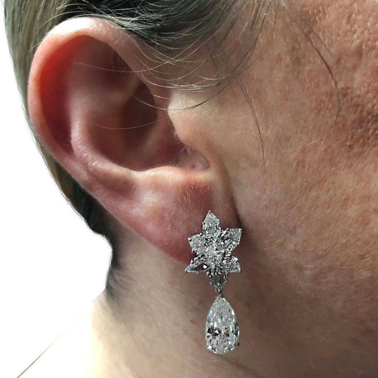 Pear Cut Vivid Diamonds 10.46 Carat Diamond Day and Night Earrings For Sale