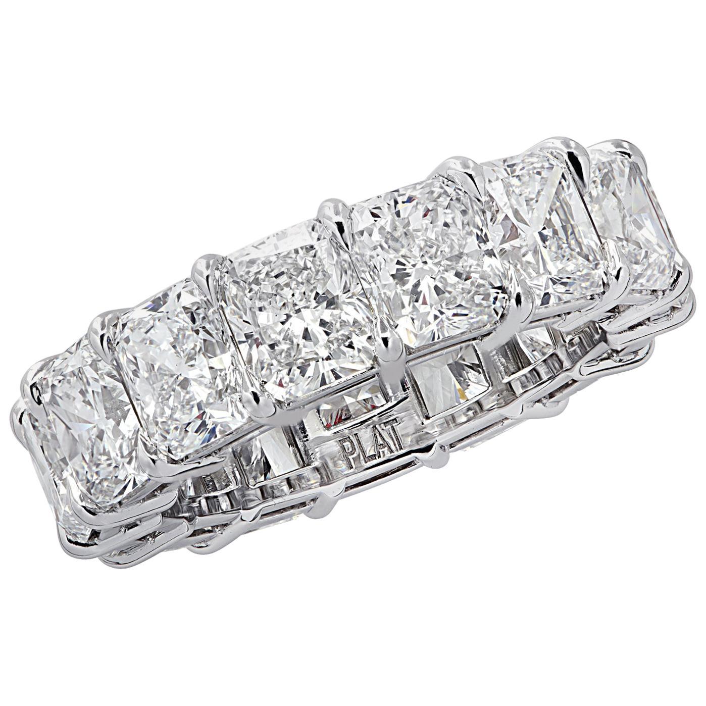 Vivid Diamonds 10.73 Carat Radiant Cut Diamond Eternity Band