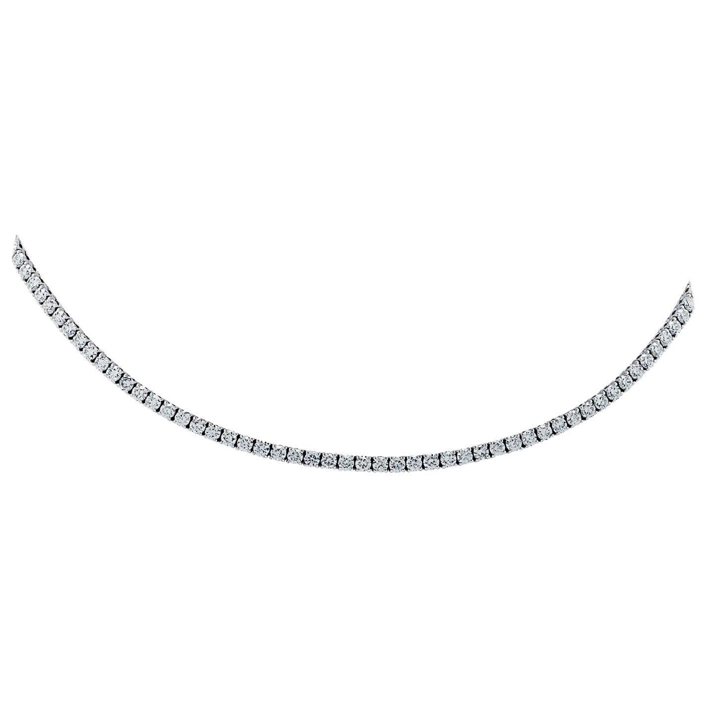 Vivid Diamonds 12.52 Carat Straight Line Diamond Tennis Necklace