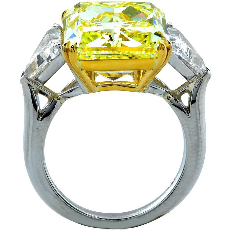 Modern Vivid Diamonds 14.20 Carat GIA Fancy Light Yellow Diamond Engagement Ring