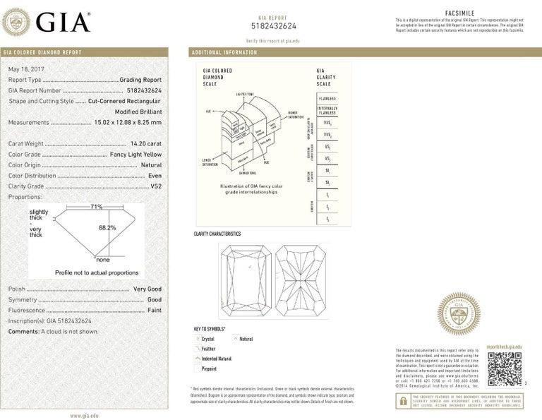 Radiant Cut Vivid Diamonds 14.20 Carat GIA Fancy Light Yellow Diamond Engagement Ring