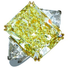 Vivid Diamonds 14.20 Carat GIA Fancy Light Yellow Diamond Engagement Ring